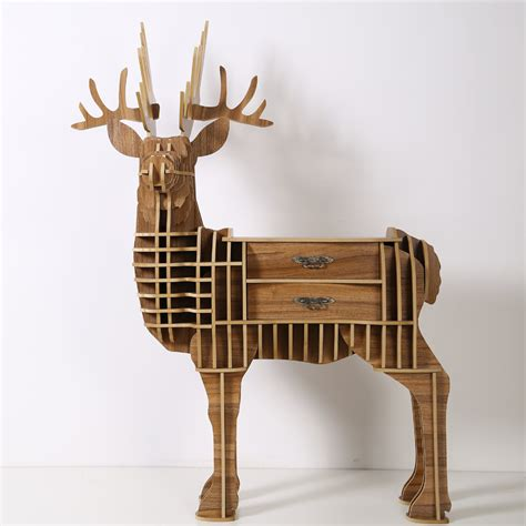 wood craft deer desk deer coffee table wooden home