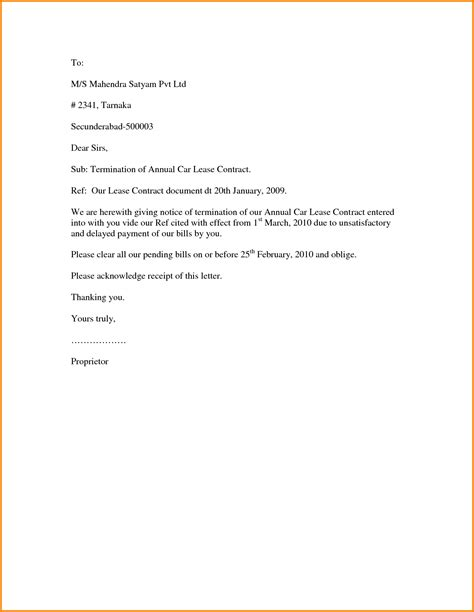 Contract Of Employment Termination Letter landlord rental termination letter template sle lease