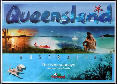 queensland vintage travel poster  whitsundays