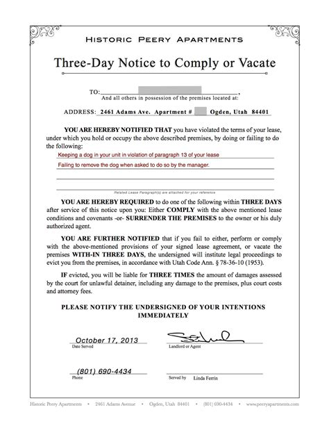 Lease Notice For Unauthorized Occupant 100 30 Day Eviction Notice Thebridgesummit Free Printable Eviction Notice Free