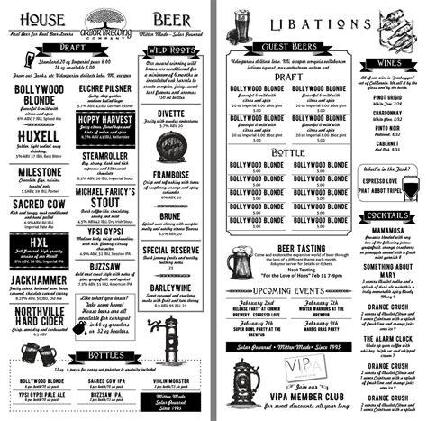 Fun Beer Menu Template Menu Designs Menu Layout Menu Template Menu Design Craft Menu Template