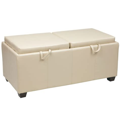 Storage Ottoman With Tray Storage Ottoman With Dual Trays In Ottomans