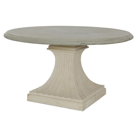 Pat French Concrete Column Pedestal Base Outdoor Dining