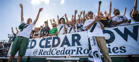 student section names student section of the week michigan state s quot red cedar