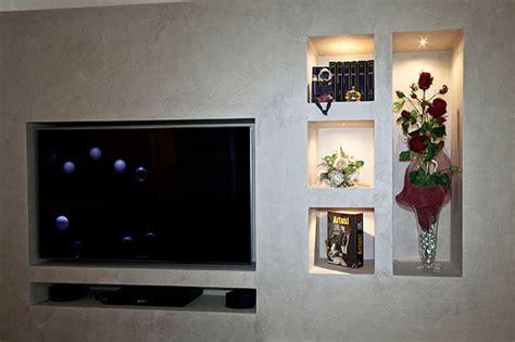 mobile porta tv in cartongesso un arredo raffinato e armonico in un attico moderno