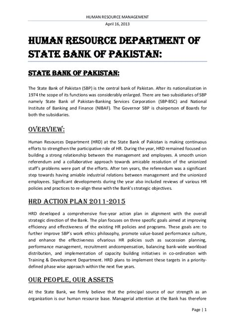 Office Of State Human Resources by Human Resource Department Of State Bank Of Pakistan