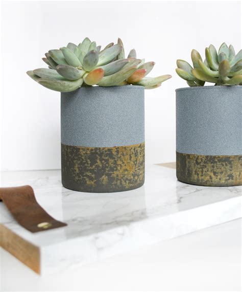 Faux Concrete Planters With A Rust Patina Monthly Diy Faux Concrete Planters