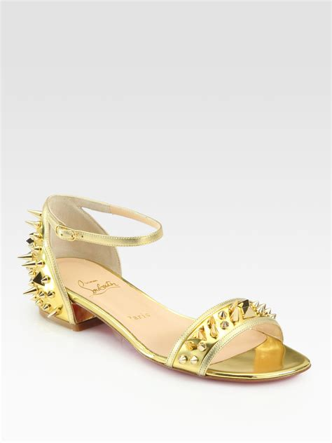 christian louboutin sandals lyst christian louboutin druide spiked mirror leather