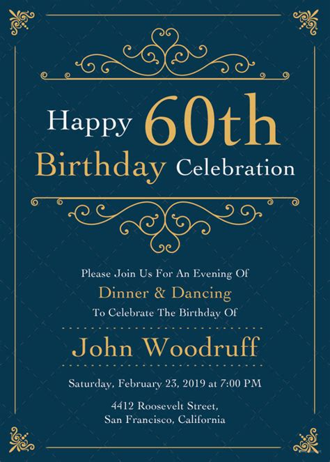60th anniversary invitations templates 38 adult birthday invitation templates free sle exle format download free premium
