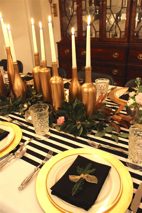 table decor items gold black and white my 30th birthday dinner party