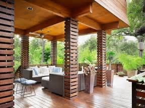 Contemporary column design deck asian with ceiling lighting wood