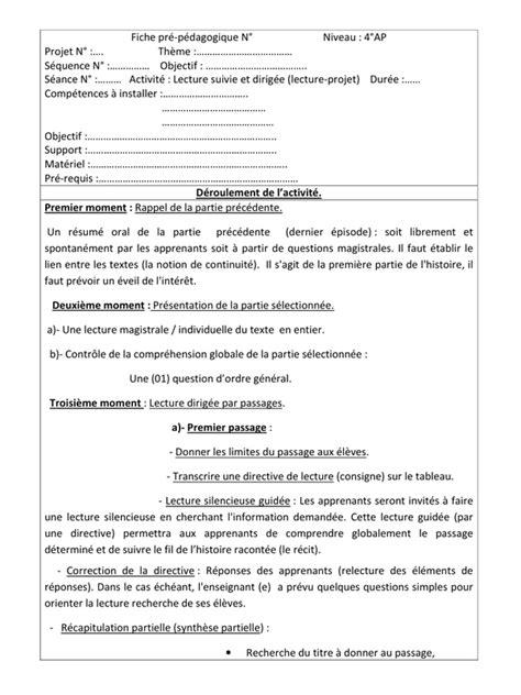 Application Qui Resume Un Texte Fiche Pr 233 P 233 Dagogique De La Lecture Suivie Et Dirig 233 E Doc