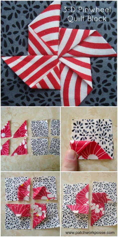 3d Patchwork - 3 dimensional pinwheel quilt block