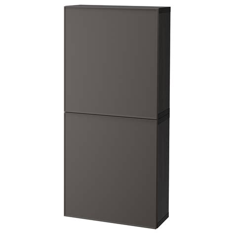 ikea besta cabinets best 197 wall cabinet with 2 doors black brown grundsviken dark grey 60x20x128 cm ikea