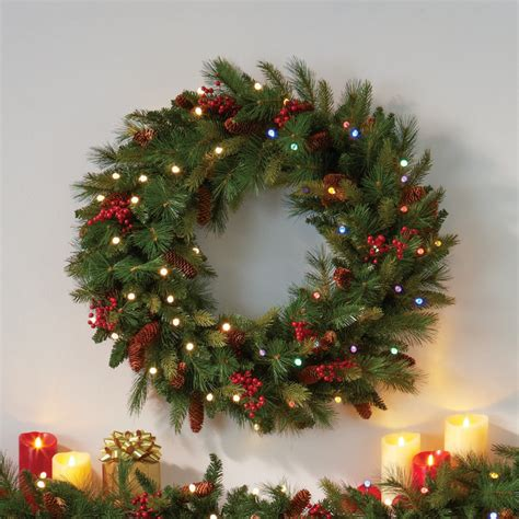 best outdoor battery or solar christmas garland lights pre lit cone berry battery operated wreath