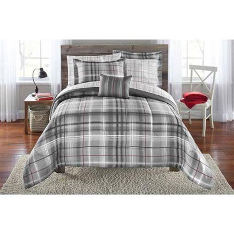 brown plaid comforter set mainstays bed in a bag bedding comforter set grey plaid