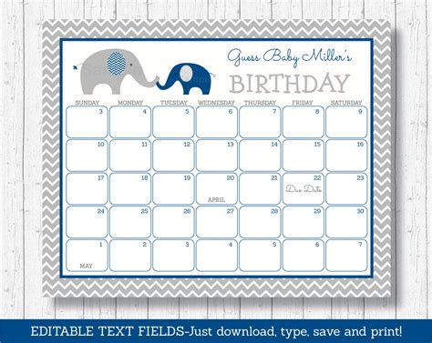 Prediction Calendar Elephant Birthday Predictions Calendar Elephant Baby Shower