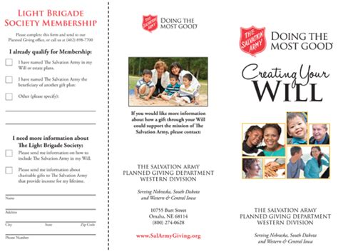 Salvation Army Brochure Salvation Army Planned Giving Template Renanlopes Me Planned Giving Template