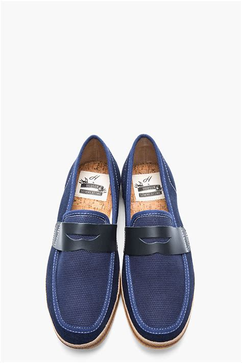 navy blue leather loafers h by hudson navy blue canvas and leather antara