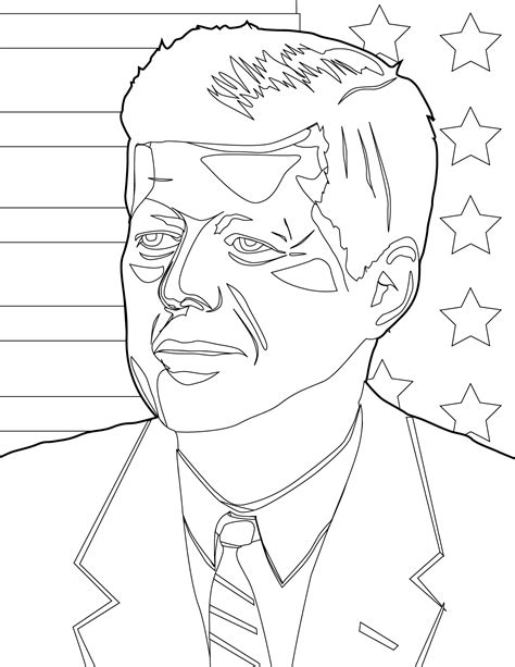 John F Kennedy Coloring Pages Coloring Pages Template Jfk