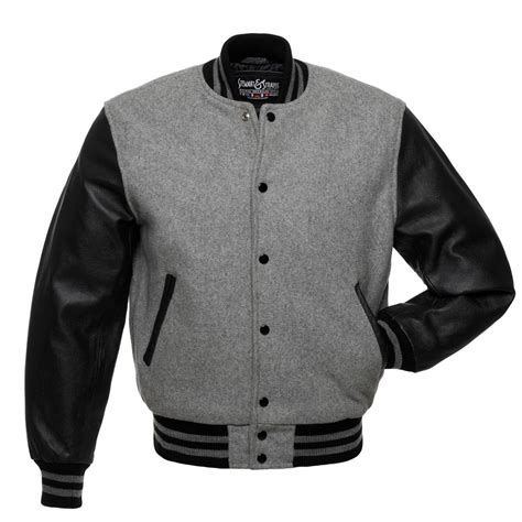 Jaket Boomber Redblack grey wool and black leather letterman jacket c128