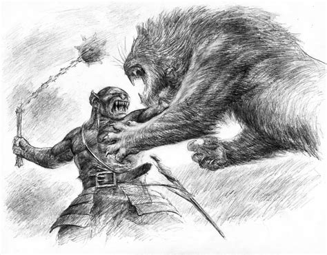 orc fighting lion by turnermohan on deviantart