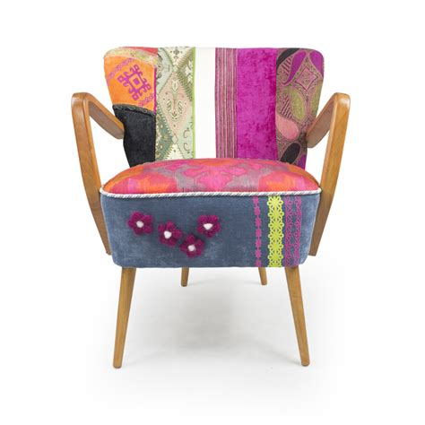 Patchwork Armchair by Vintage Mid Century Modern Patchwork Armchair By Lasilladesign