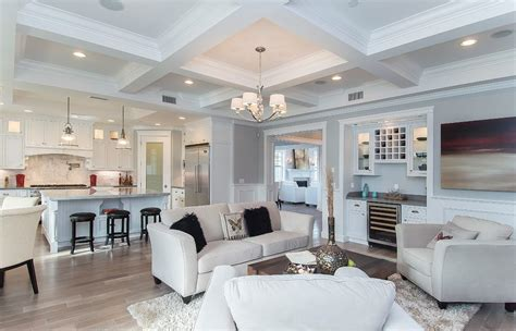 Ceiling coffer living room traditional with pendant lighting wall art light wood floor