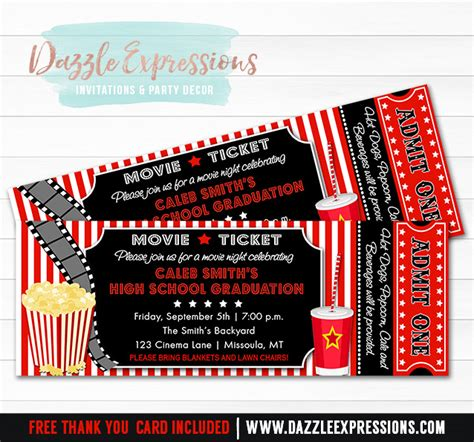 free printable graduation tickets printable movie ticket graduation party invitation 8th