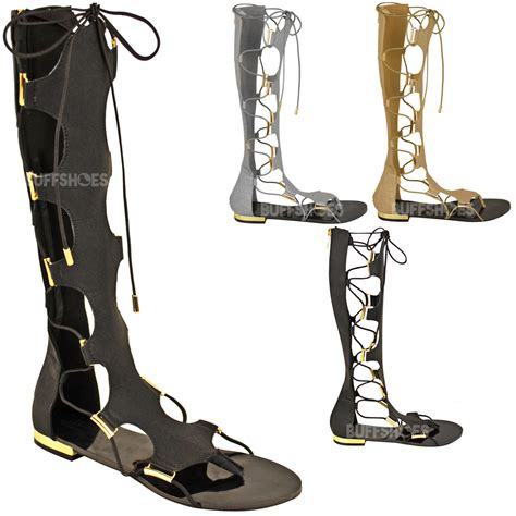 gladiator sandals up leg womens gladiator knee high flat sandals lace up