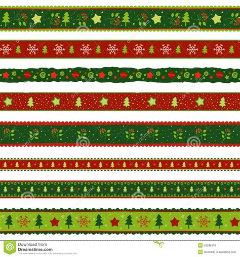 christmas tree ribbon pattern christmas ribbon patterns set stock vector image 42286578