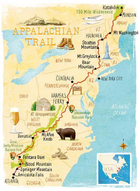 the appalachian trail map appalachian trail map jessop map illustration