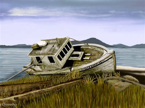 old boat drawing the old boat a landscape speedpaint drawing by