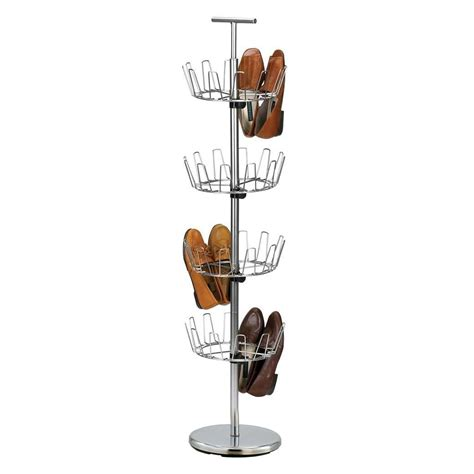 shoe tree storage chrome revolving free standing 3 or 4 tier metal shoe tree