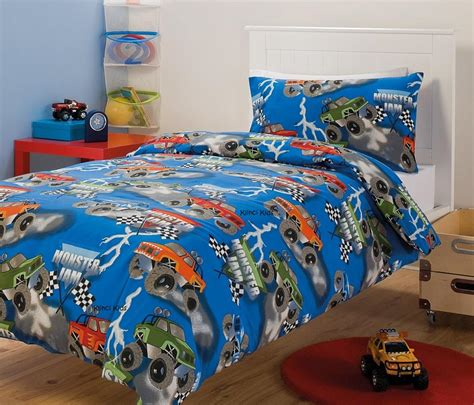 monster truck bed set monster jam monster trucks racing single twin bed quilt