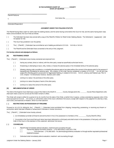 restraining order template louisiana temporary restraining order form images