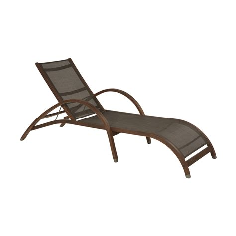 wood patio chaise lounge shop allen roth woodwinds sling seat wood patio chaise