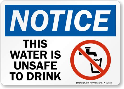 water unsafe  drink osha notice sign sku