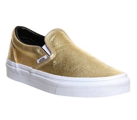 vans classic slip on shoes gold metallic unisex sports