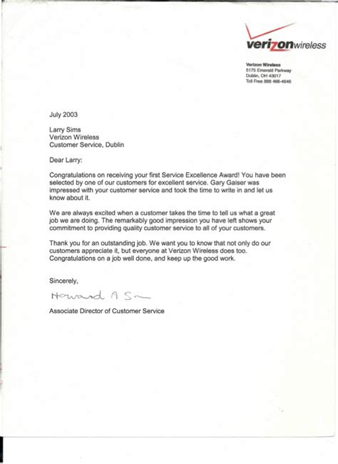 Acknowledgement Letter For Well Done Performance Acknowledgement Letter From Management Verizon Wi