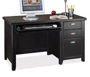 Office Desk Black Distress Black 52 Inch Single Ped Home Office Desk