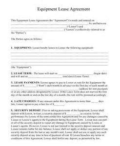 Equipment Lease Agreement Template Free Download Equipment Rental Agreement 8 Free Word Pdf Documents