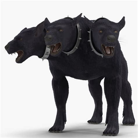three headed 3d model three headed cerberus fur