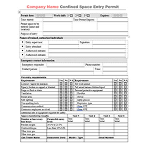 free confined space entry permit templates xo safety