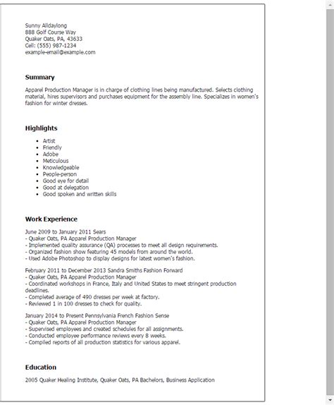 Apparel Production Manager Cover Letter 1 apparel production manager resume templates try them now myperfectresume