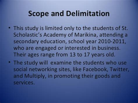 exle of scope and delimitation in research paper scope and delimitation of the study thesis exle