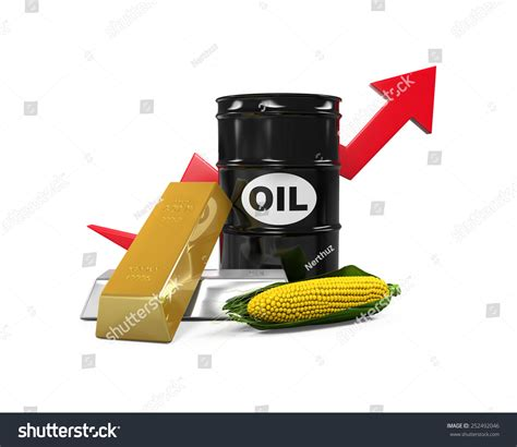 oil commodity commodities oil corn gold and silver stock photo