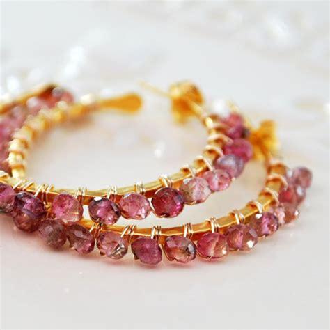 watermelon tourmaline earrings gemstone hoops by livjewellery