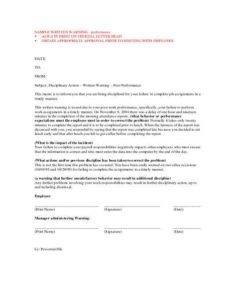 best photos of printable written warning employee written warning template written warning