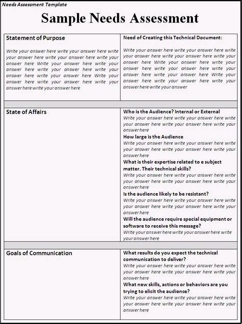 needs analysis questions template needs assessment template word excel formats